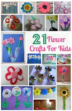 21 Flower Crafts For Kids  -  Pinned by @PediaStaff – Please Visit http://ht.ly/63sNt for all our pediatric therapy pins
