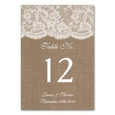 The Burlap & Lace Collection Table Number Cards Table Card