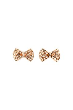 Champagne Crystal Bow Stud Earrings!!