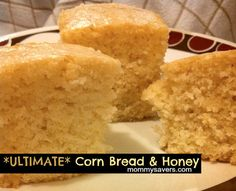 The Ultimate Cornbread & Honey Butter Recipe   1 1/2 c flour 1/2 c cornmeal 2/3 c sugar 1 Tbs baking powder 1/2 tsp salt 1/3 c oil 3 Tbs butter,melted 2 eggs,beat 1 1/4 c milk   Mix all (it will be runny but that's ok) and pour into a lightly greased 8in sq pan.  Bake @ 350 for 35 min  I always drizzle it with a little extra honey
