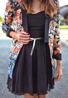 Floral cardigan with black mini dress | Fashion Inspiration