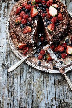 A beautiful mess. Chocolate and strawberry cake