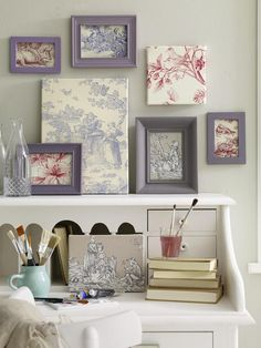 Toile artwork. Could scan & convert to colors to coordinate with a bedroom or bath decor (change it out with the seasons!)
