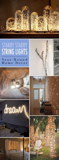 Starry Starry String Lights! • Year Round Home Decor using Christmas lights or firefly lights. • Tons of Tips and Ideas!