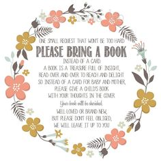 Instant Download Baby Shower Invitation Insert, Please Bring a Book Instead of a Card, floral design by LucyNicoleToo