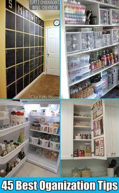 45 BEST HOUSEHOLD ORGANIZATION TIPS & TRICKS from: http://www.mrspollyrogers.com/ 2013/02/50-best-home-organizing-tips/
