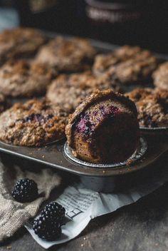 Blackberry Sour Cream Bran Muffins