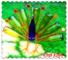 Yard Art-Peacock made out of wine bottles & wire!