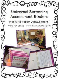 RTI Universal Screening Binder Set for AIMSweb or DIBELS