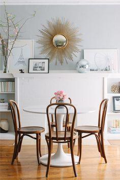 White Sarah Nasafi Grayce Sunburst Mirror IKEA USA White Table