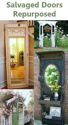 tons of ideas to repurpose vintage doors