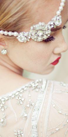 Art Deco vintage bride with jeweled headband