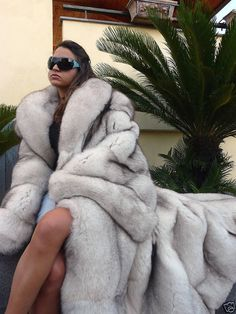 #FURHAG DISGUSTING!!!! Gigantic Blue Fox Fur Coat. About fifteen foxes killed for fashion.