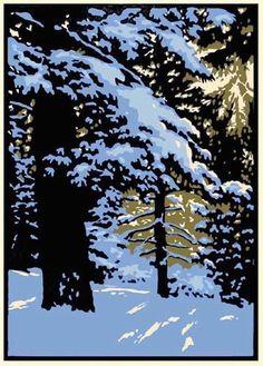 K Nakajima Woodblock Prints winter woods 1 ~ woodblock print (?) ~ by laura wilder