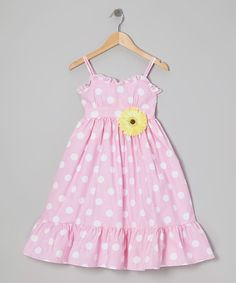 This Pink & White Polka Dot Dress & Daisy Pin - Toddler & Girls is perfect! #zulilyfinds
