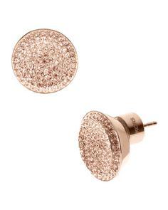 Michael Kors Pave Stud Earrings, Rose Golden.