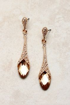 Rose champagne teardrop earrings