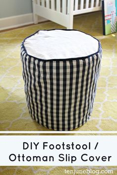 Ten June: DIY Footstool / Ottoman Slip Cover with Piping Tutorial