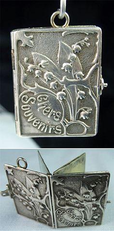 Art Nouveau French Chers Souvenirs book locket charm