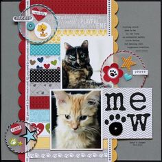 Meow #layout by Lisa Dickinson for #SCTmagazine #scrapbooking #NSD2015