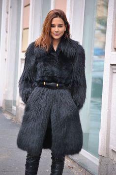 black  faux fur.