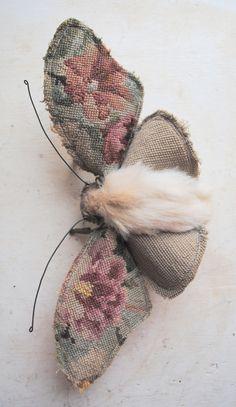 Large moth textile art piece. Unique. Vintage textiles.