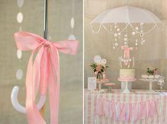 White Umbrella Centerpiece for a Baby Sprinkle