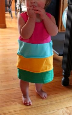 Rainbow dress out of tshirts - @Valerie Carnley