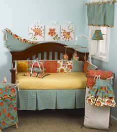 Blue and orange baby boy crib bedding from @CottonTale Designs #PNapproved