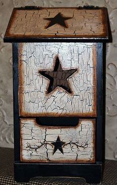 Country Farmhouse Texas Primitive Star Handpainted LG Potato & Onion Bin storage | eBay