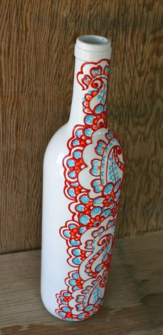 Hand Painted Wine bottle Vase White with red orange by LucentJane, $25.00