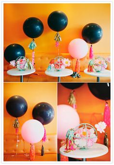 orange, pink. mint and black party colors
