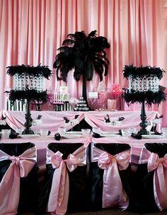 Pink and black Paris themed party!  #paris #party #pink