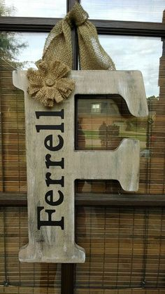 Distressed Wooden Letter Doorhanger by NaptimeCrafters1 on Etsy, $30.00