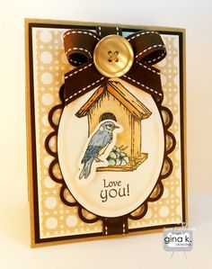 - Gina K. Designs Birds and Blossoms stamp set by Theresa Momber  - Gina K. Designs Pure Luxury Kraft card stock  - Gina K. Designs Pure Luxury Chocolate Brown card stock  - Gina K. Designs Pure Luxury 80 lb. layering weight card stock in White  - Gina K. Designs Pure Luxury Pool Side 6 X 6 patterned paper pack  - Gina K. Designs Pure Luxury brown double-stitched ribbon  - Gina K. Designs Color Companions buttons from the Coffee House collection    http://cardcraftyclub.blogspot.com/