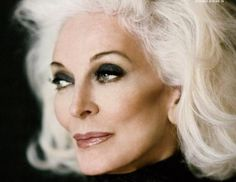 """Carmen Dell'Orefice. The 80 year old supermodel has consistently worked for 67 years! Muse to Salvador Dali at age 13, cover of Vogue magazine at 15 in 1947, and more in-demand than ever today.  Carmen stopped dyeing her hair in her mid-40s saying, """"I'm not giving in to anyone else's idea of how I ought to feel and look."""" She embraced the natural stages of graying and now has her hair toned 4 times a year to lift the color to a pure white."""
