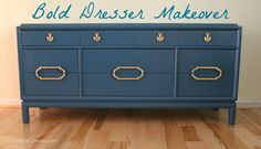 Give an old dresser a new life with a BOLD paint color! I love this!