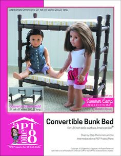AptOne8 Convertible Bunk Bed Pattern 18 inch American Girl Dolls | Pixie Faire