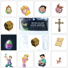 The Egg-cellent Easter Adventure Character Stickers are drawn from The Egg-cellent Easter Adventure storybook. These stickers extend the story's theme of glowing Easter eggs that symbolize the light of Jesus. Children love these identifiable characters that promote biblical and gospel messages. Use with glow-in-the-dark Egglo Eggs to enrich Easter egg hunts with the message of Jesus. Egglo.com