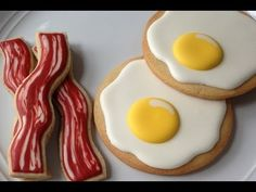 How To Decorate Bacon and Egg Cookies - YouTube