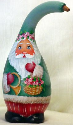 Hand Painted Santa Gourd - Basket of Roses. $120.00, via Etsy.