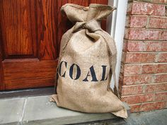 COAL Burlap Christmas Santa Sack -.... When the kids need to be taught a lesson!!! Scares back to the good side lol...