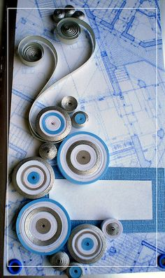 Quilling on a map or blueprint