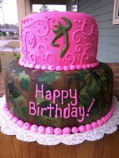 I want this cake for my next birthday!  Camo cake - handpainted camo and hot pink. Used mm fondant and added browning head!! MY BIRTHDAY CAKE??