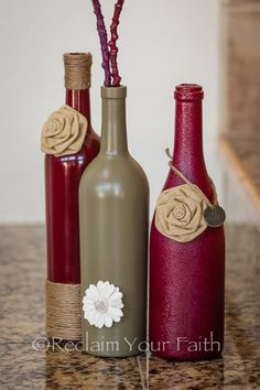 Homemade Wine Bottle Crafts... Great idea, just different colors. Guess I need to empty some wine bottles!