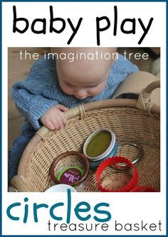 Love Heuristic Play!!!!Baby treasure basket with circular objects (and links to more treasure basket ideas for babies!)