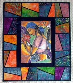 Stained-Glass Girl with Lotus Quilted Wall Hanging. Advanced Embroidery Designs. Free Projects and Ideas.