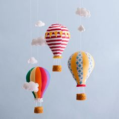 Hot Air Balloon Mobile - Baby Child Mobile - Custom - You Pick Fabric/Color. $115.00, via Etsy.
