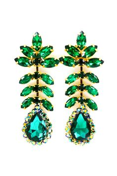 Emerald Rhinestone Hannah Earrings | Emma Stine Jewelry Earrings