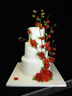 red roses wedding cake by Design Cakes, via Flickr